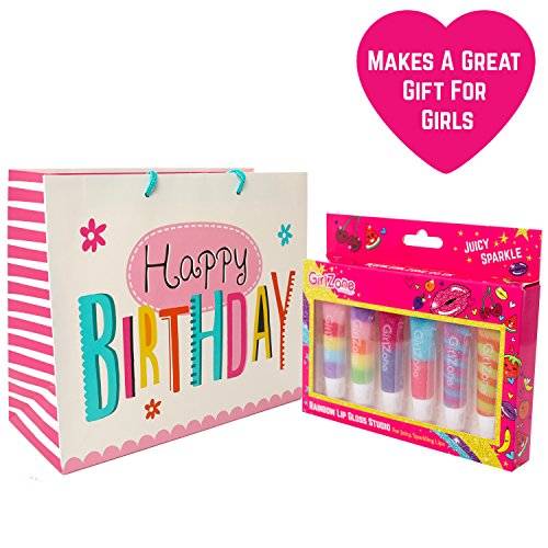 GirlZone Rainbow Fruit Lip Gloss Makeup Gift Set For Girls Birthday Gifts Present Idea Age 4 5 6 7 8 9 Years Old