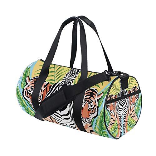 Ahomy Zebra Tiger Tropical Leaf Turnbeutel Sporttasche Reisetasche Reisetasche Reisetasche Wochenende Reisetasche - Tiger Canvas Tote Bag