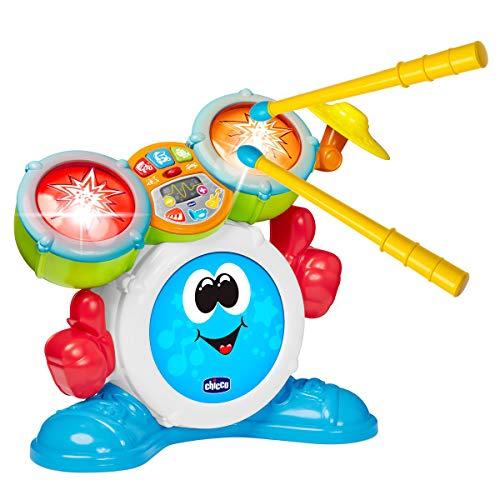 Chicco Mi Primera Schlagzeug für Kinder, Musikinstrument mit Licht und Sound, 3 Spielmodi