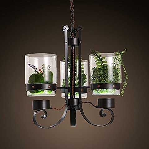 CNMKLM Nordic simple ventana balcón las luces decorativas de restaurante café y flores industrias araña de hierro forjado 510*500mm