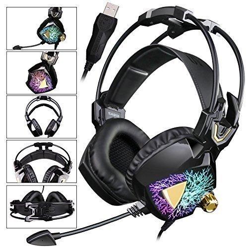 SADES neuestes Modell SA 913 Leichtes Stereo-PC Gaming Headset USB Surround Sound über Ohr-Kopfhörer mit Mikrophon Vibration Volume Controller Multi-Color LED-Licht für Gamers (schwarz) -
