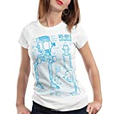 style3 AT-ST Cianotipo Camiseta para mujer T-Shirt fotocalco azul andador, Color:Blanco;Talla:M