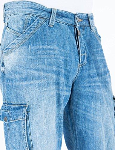 Timezone Herren Shorts Loose Damiro 3/4 Cargo Blau (Blue 3608)