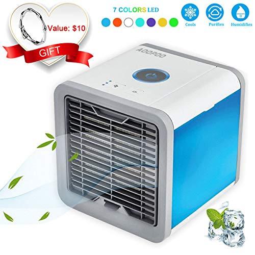 AOOPOO 3 in 1 Raumluftkühler, Luftbefeuchter und Luftreiniger mit USB Anschluß 3 Kühlstufen, 7...