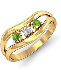 KuberBox Yellow Gold, Diamond And Peridot Ring For Women