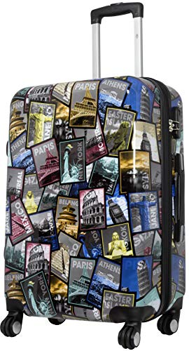 Trendyshop365 Bunte Trolley Hartschale Citykoffer 67 Zentimeter - Bedruckt Design Weltreise Rio Athen Paris