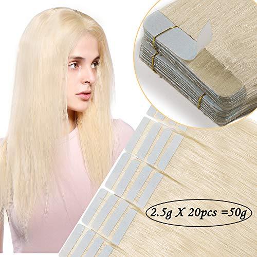 Extension capelli veri biadesivo biondi 20 fasce tape extension adesive 50g 100% remy human hair lisci 40cm con adesivi di ricambio - biondo platino