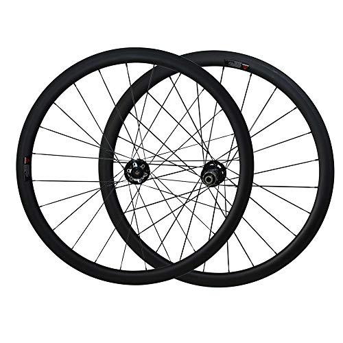 FidgetGear Pro Carbon 700C 38 mm Tubular Wheel Set Disc Hub Sapim Cx-ray Speichen, 23mm, Novatec D411SB/D412SB hub -