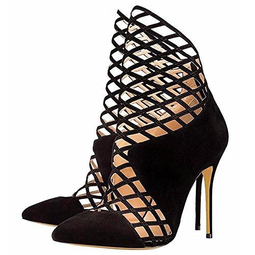 SYYAN Donna Pelle Artificiale aAppuntito Dito del piede Cavo Manuale Pompa Vestito Caviglia Stivali Nero , 34 , black 35