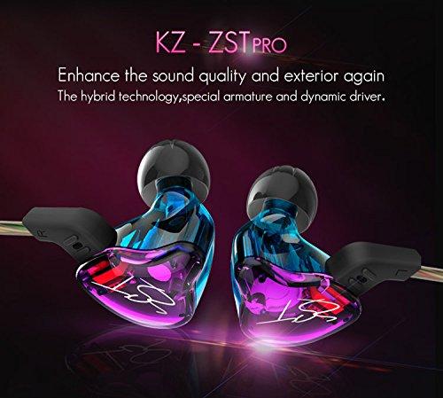KZ ZST Auriculares ergonómicos intrauditivo In-Ear Earphones Montura Dynamic Hybrid Dual Drive Auriculares con cancelación de Ruido HiFi Auriculares Deportivos con tapón(Auriculares con micrófono)