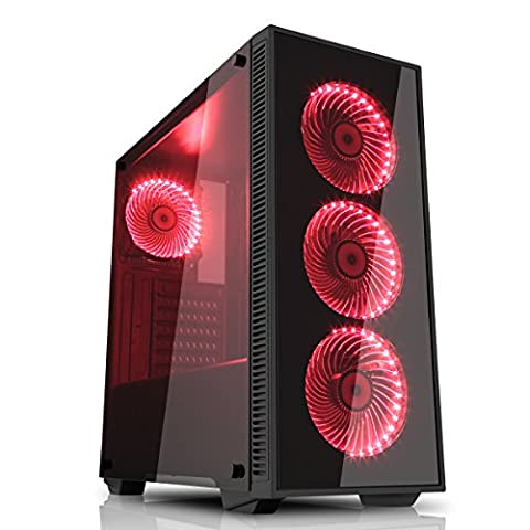 Game Max Draco Gaming Case with 4 x 12 cm RGB Fan Tempered Glass Side and Front Panels - Black