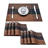 TOP Marques Collectibles Top Finel 8er Set Umweltfreundlich PVC Tischset - abwaschbar Platzset Platzmatten für Dekoration und Küche, 30 x 45 cm,Braun und Schwarz