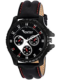 Unique Hunt Watch FX-M-436 Analog Watch For Boys, Men And Student - Black Dial Black Leather Strape
