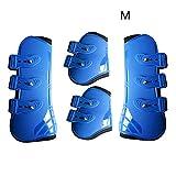 Sedensy - Guêtres de Cheval réglables Avant et arrière - Protection en polyuréthane réglable - Protection des tendons d'équitation, Bleu, Taille L