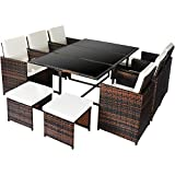 Merax Poly Rattan Lounge Gartenmöbel Set Sitzgruppe klappbare Essgruppe11/9 PCs (11 PCs, Braun)