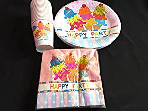 Pack of 40 Party/Birthday Party - Paper Plate Party Plate Set Paper Cups & Pack of 40 Party/Birthday Party - Paper Plate Party Plate Set Paper ...
