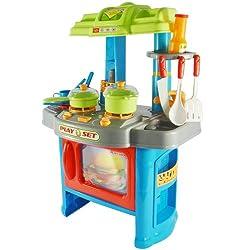 Kinderküche mit Licht- und Soundeffekten | B/H/T: ca. 42/60/27,5 cm, inkl. vielen Zubehör (Töpfe, Teller, Becher, Kochgeschirr etc.) | Spielküche, Plastikküche, Küchenspielzeug | Zwei Farben zu wählen