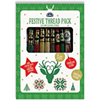 DMC hilo de Festive Pack 9x 8m madejas Plus Bono GRATIS de Festive gráfico y Navidad alfabeto