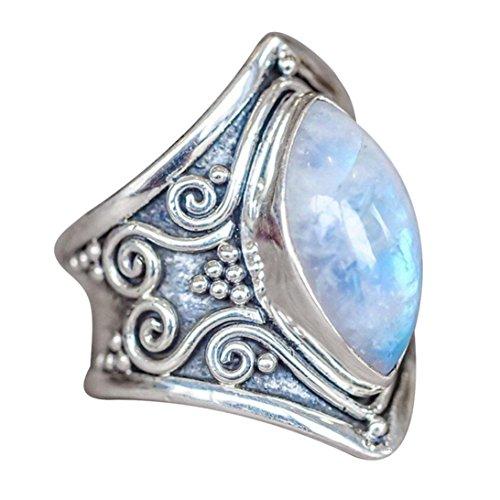 HKFV 1PC Boho Schmuck Silber natürlichen Edelstein Marquise Mondstein personalisierte Ring Vintage Mondstein Thai Silber Ring Alloy (A)