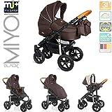 My Junior+® Miyo Kombikinderwagen Komplettset bis zum 4.Lebensjahr---3 Years Guarantee---+Autositz (11-Teile-Megaset) Premium Kinderwagen (Brown)