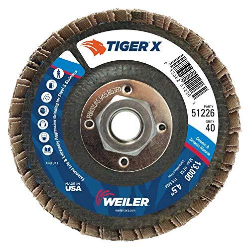 Weiler 51226Tiger X PFC, Keramik und ZA, flach, Phenolharz-Unterstützung, Körnung 40, 4-1/5,1cm 5/20,3-27,9cm Arbor Loch (10Stück) - Arbor Lager