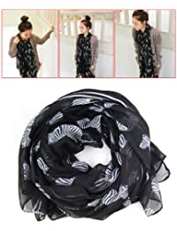 WMA Black Fancy Zebra Print Soft Celebrity Scarf Animal Fashion Large Long Shawl New Gift Lady