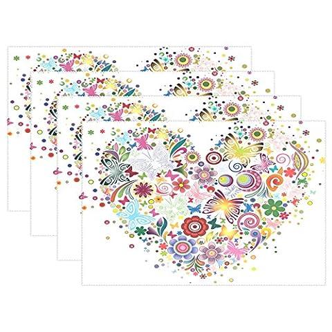 Cœur De Fleurs et papillons Imprimé Sets de table, sets de table Coosun résistant à la chaleur résistant aux taches anti-dérapant Sets de table en polyester Lavable antidérapant facile à nettoyer Sets de table, 30,5x 45,7cm, Lot de 4, Polyester, multicoloured, 12x18x6 in
