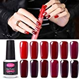 Clavuz 12pcs Kit de Esmaltes de Uñas Gel UV LED Semipermanente Serie de Rojo Vino Top Coat Base Coat Soak off Manicura y Pedicura