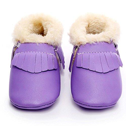 Hunpta Baby Schneestiefel weiche Sohle weiche Krippe Schuhe Kleinkind Stiefel (Alter: 12 ~ 18 Monate, Gelb) Lila