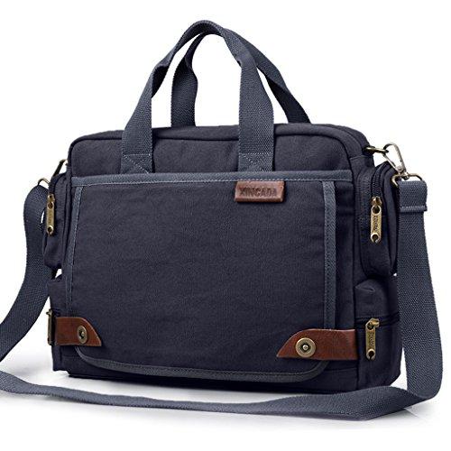 CJH Canvas Bag Herren Casual Bag Schultertasche Schräg Diagonal Mehrzweck Herren Messenger Bag Blau Schwarz (Kipling Laptop-messenger Bag)