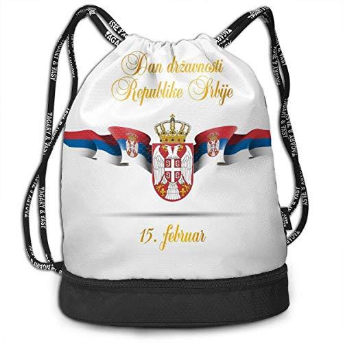 Juzijiang National Emblem of The National Flag of Serbia Large Drawstring Sport Backpack Sack Bag Sackpack