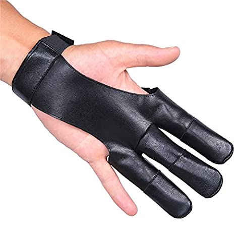 Genuine Leather Archery Shooting Glove, 3 Finger Design Fits Either Hand, Velcro Strap (black)