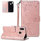 FNBK - Funda de piel con tapa para Huawei P Smart Plus, diseño de elefante, color oro rosa, oro rojo