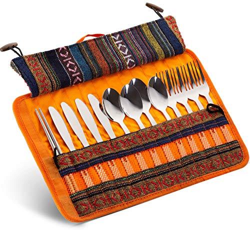 13-teiliges Besteck-Set aus Edelstahl für Familien, Picknick, mit Reiseetui für Camping, Wandern, Grillen, inkl. Gabeln, Löffeln, Messer, Essstäbchen, inkl. Nylon-Etui orange