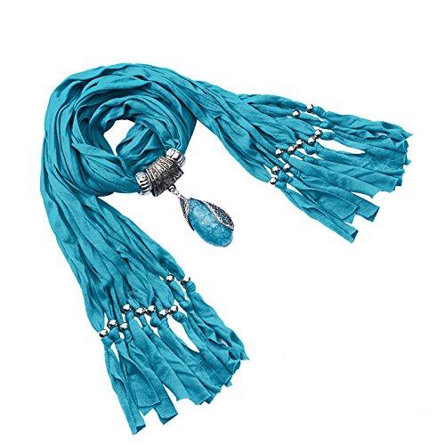 Lureme® Annata Colore solido stile bohemien con resina goccia d'acqua nappe pietra sciarpa della collana (01003059-5) (blu)