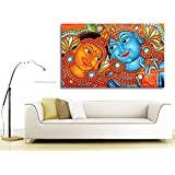 PPD Canvas Painting - Radha Krishna - Kerala Mural Canvas For Home And Office Décor (28 Inch X 44 Inch)