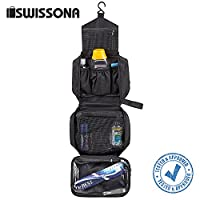 SWISSONA Premium Toiletry Bag, waterproof and hangable, ideal for travels, mesh and zip compartment   with 2 years satisfaction guarantee   wash bag, cosmetic bag, toiletry pouch