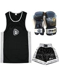 PRIME NIÑOS BOXEO UNIFORME TOP + PANTALONES CORTOS NEGRO+PLATEADO Niños Boxeo GUANTES 177,4 ml (1002) - uniformes 9-10 años