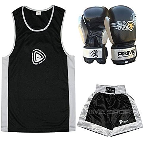 PRIME NIÑOS BOXEO UNIFORME TOP + PANTALONES CORTOS NEGRO+PLATEADO Niños Boxeo GUANTES 177,4 ml (1002) - uniformes 13-14