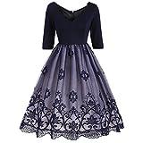 [3/4 Arm Kleid Damen] V-Ausschnitt Rockabilly Kleid Damen Elegant Audrey Hepburn Kleid Festlich Kleid Partykleid Cocktailkleid Knielang-DU-M