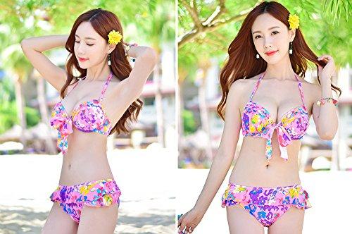 ZZYY*Sexy femmes fashion maillots de tôles d'acier de la Corée du Sud voile ensemble de trois petits maillots de bain bikini poitrine recueillis,M L