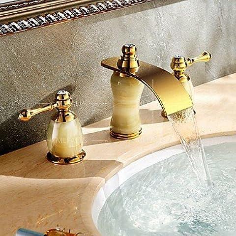 JOE Grifo,Lujo diseño cascada dos Ti-PVD baño Lavabo grifos cubierta tres orificios instalación