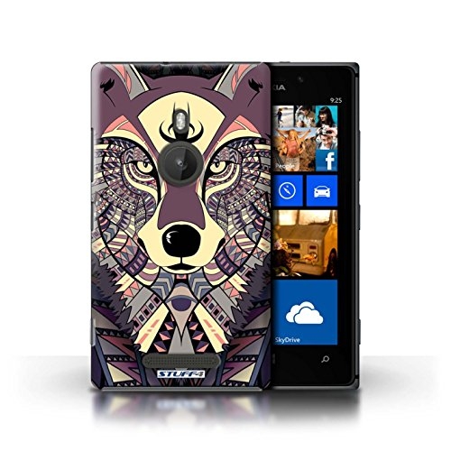 Coque en plastique pour Nokia Lumia 925 Collection Motif Animaux Aztec - Loup-Bleu Loup-Cramoisi