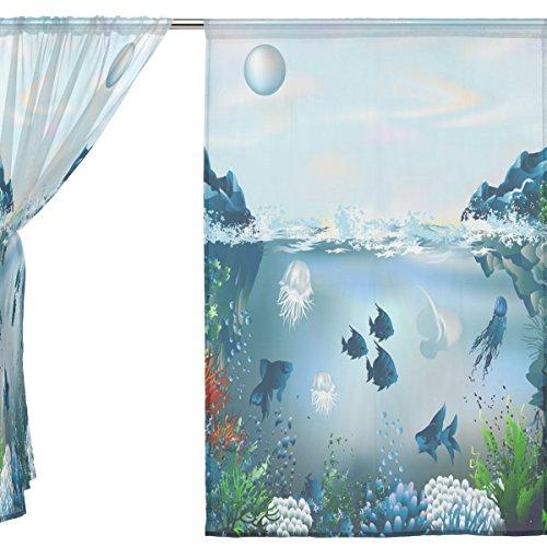 jstel 2Pcs Voile Fenster Vorhang, marine Moti Ocean Dolphin tropical Fisch Coral, Tüll Sheer Vorhang Tuch Querbehang 139,7x 198,1cm Zwei scheibenelementen Set, Polyester, blau, 55x78x2(in)