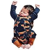 Neugeborenes Baby Outfits Venmo Jungen Mädchen Cartoon Hunde Overall Drucken Spielanzug Overall Sätze Baby Strampler Schlafanzug Baumwolle Overalls Spielanzug Nachtwäsche (Dark Blue, Size:12M)