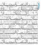 Artesive ST-04 Mattoni Grigio larg. 100 cm x 5mt. - Pellicola Adesiva effetto pietra per interni per rinnovare mobili, porte e oggetti di casa
