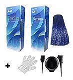 2 x Berina Haarfarbe A41 blau blue für schulterlanges Haar - inklusive Pinsel Kamm Färbebecher und Schutzhandschuh