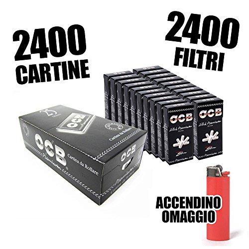 OCB 2500 CARTINE CORTE NERE DOPPIE + 2400 FILTRI ULTRASLIM OCB + ACCENDINO OMAGGIO