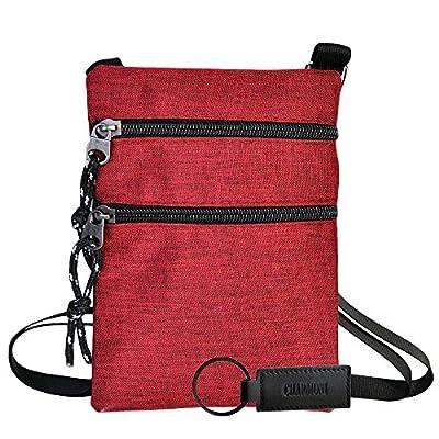 Charmoni - Sac pochette plate sacoche à bandoulière et sa porte clé cuir léger et résistant en Nylon