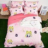 ZHOUING-- Sailor Moon Bettwäsche-Sets 4-Piece Kinder Polyester Bett Sets 4 Stück Anime Cartoon Bettbezug Set Für Kind Kinderzimmer Dekoration, Pink,1.2M